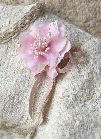 かわいいピンクのコサージュ「フレンチキス」(ピンク)小さめ上品♪ 画像