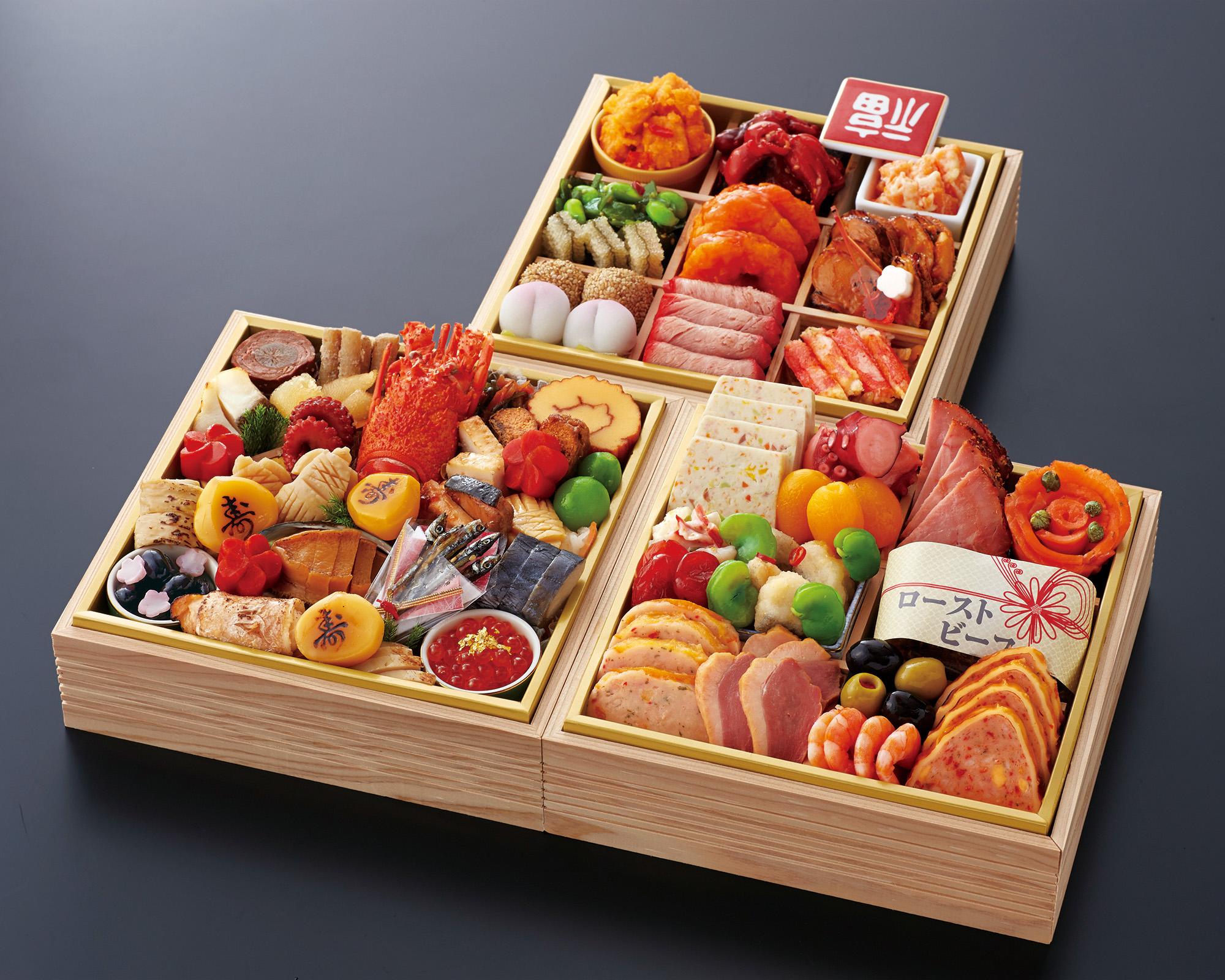おせち料理 神戸たん熊北店コラボ 和洋中 三段重 (3~4名様用)画像