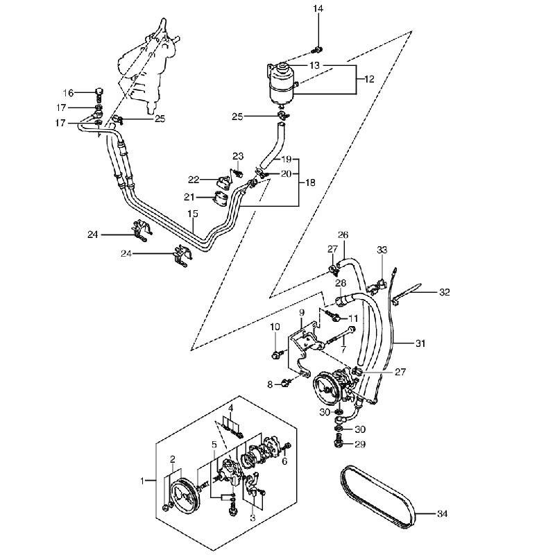 パワーステアリングオイルポンプ パワーステアリングアリ ジムニー JA11 B,Hの画像