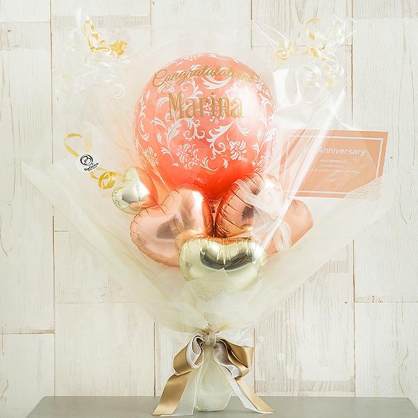 他の人とぐっと差がつくお祝いに・ローズピンクバルーンブーケ画像