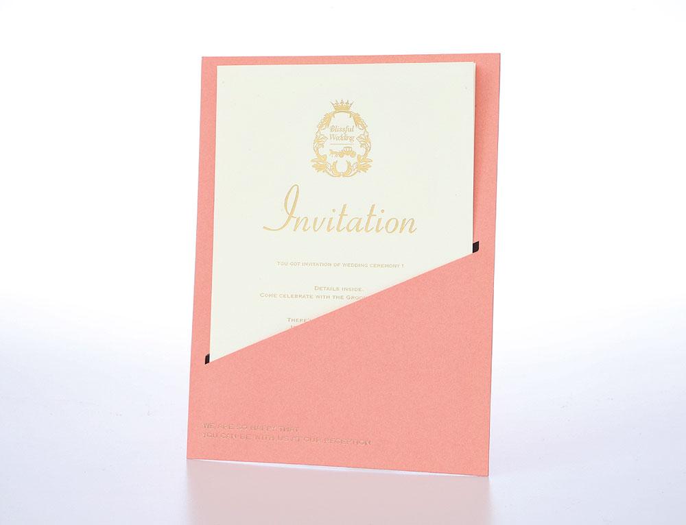 【印刷込】招待状 ポケット(ピンク)の画像