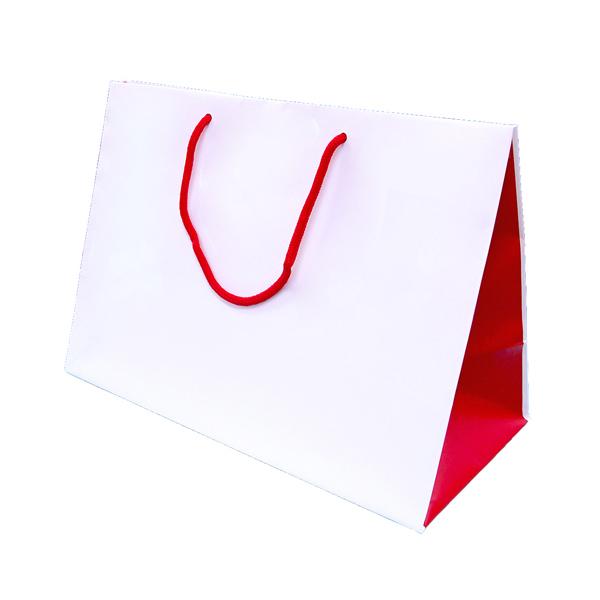 和風紅白バッグの画像