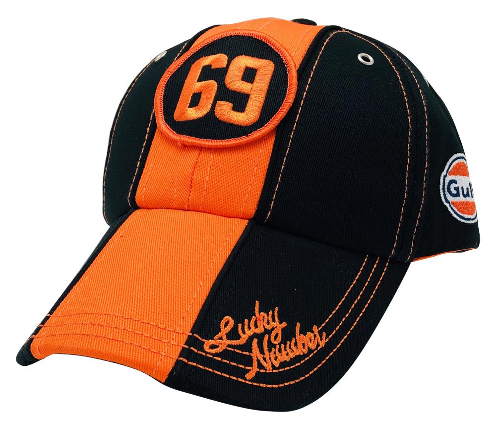 Gulf ガルフ モータースポーツ オフィシャル CAP ブラック×オレンジ #69 の画像