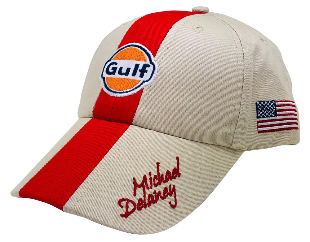 Gulf ガルフ モータースポーツ オフィシャル CAP サンドベージュ×レッド M.Delaney の画像