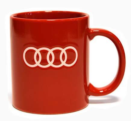 AUDI アウディー エンブレム オフィシャル マグカップ レッドの画像