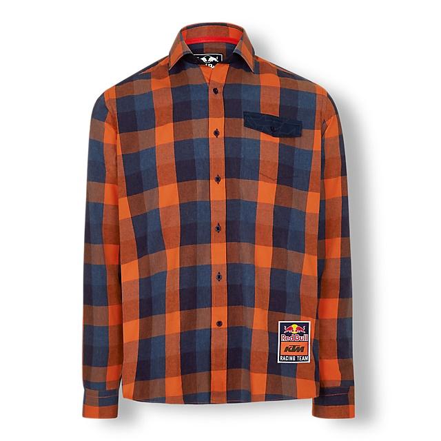 KTM レッドブル チェック シャツ オレンジの画像