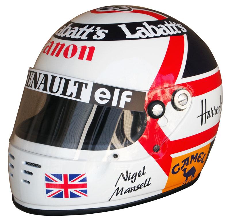 1/1スケール レプリカ ヘルメット ナイジェル・マンセル 1992年 ウィリアムズ・ルノー ワールドチャンピオンの画像