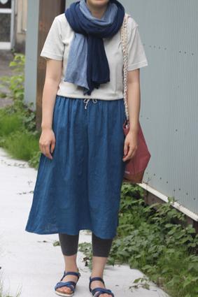 藍染めスカート画像