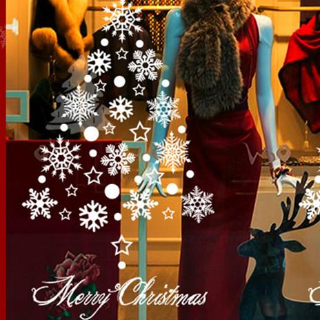 ウォールステッカー クリスマス 白い雪 雪の結晶 60*45cm #699 画像