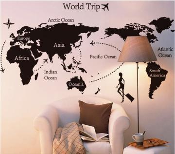 世界地図 ウォールステッカーの画像