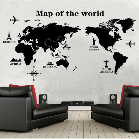 世界地図 ウォールステッカー画像