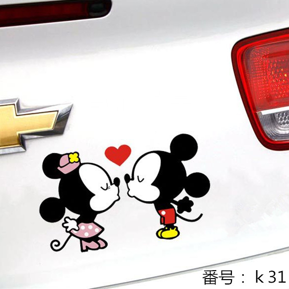 ミッキー ミニー キス 自動車用ステッカー 19*11cm k31画像
