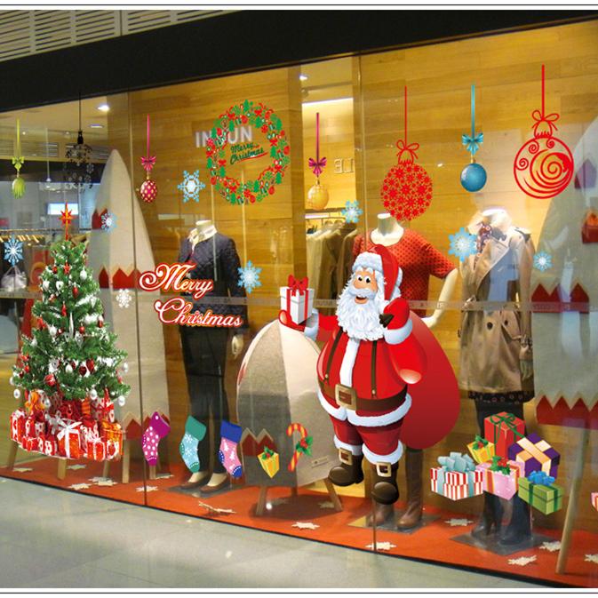 ウォールステッカー クリスマス 2枚 セット クリスマスツリー サンタ 60*90cm #001 の画像