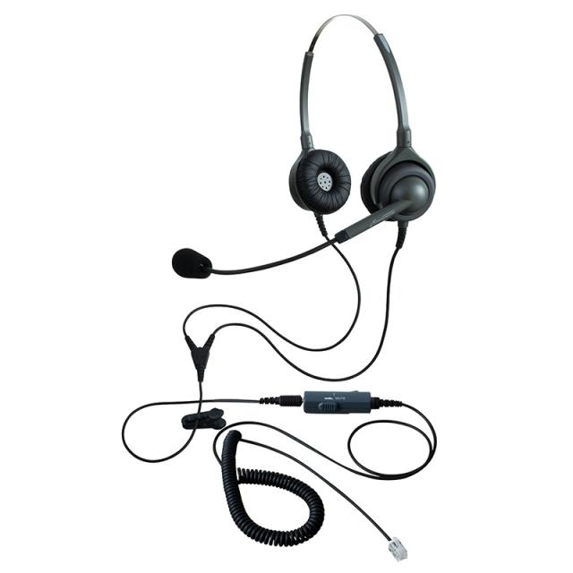 エンタープライズヘッドセットパック両耳タイプVMC4コード(受話ボリューム調整とミュート機能付きカールコード)の画像