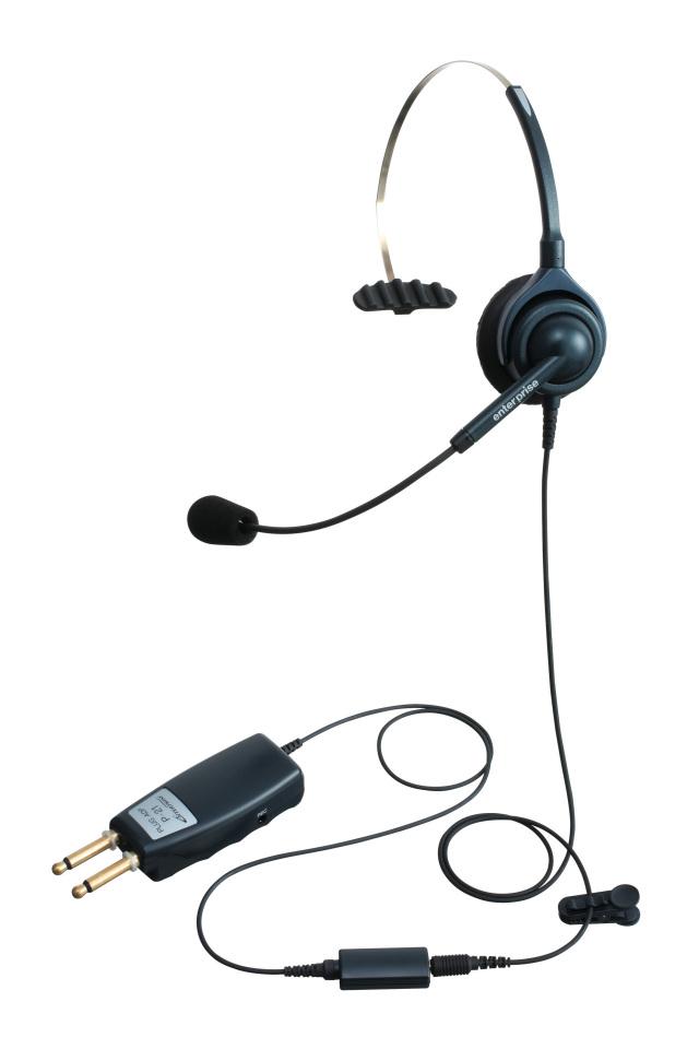 エンタープライズプラグP21パック中継台向け双頭プラグ接続型片耳ヘッドセットの画像