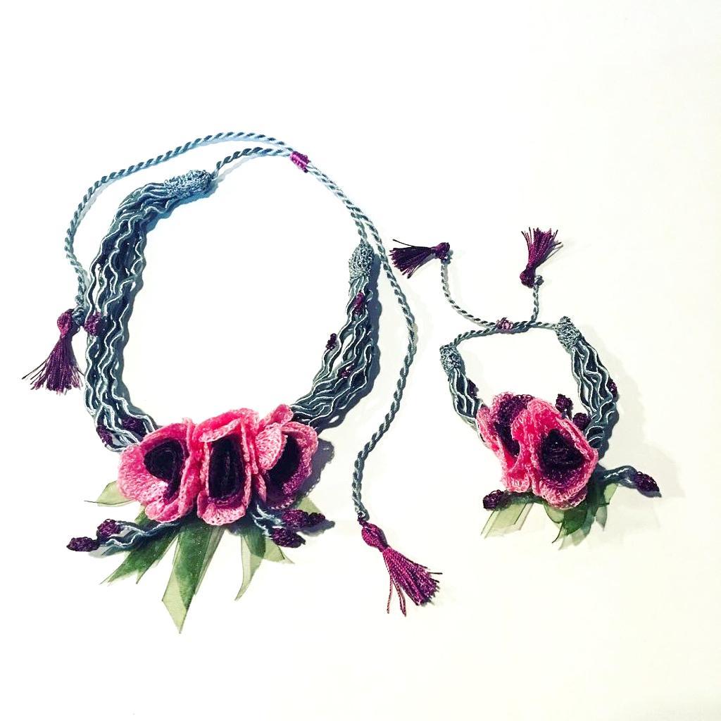 ネックレス 手編みフンダコレクション ブレスレットセットの画像