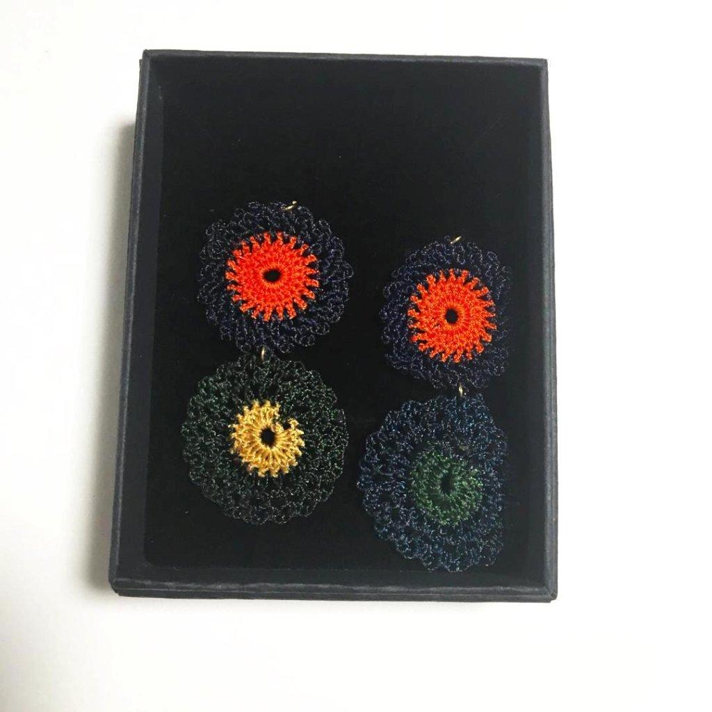 手編みトルコイヤリング・トルコピアス の画像