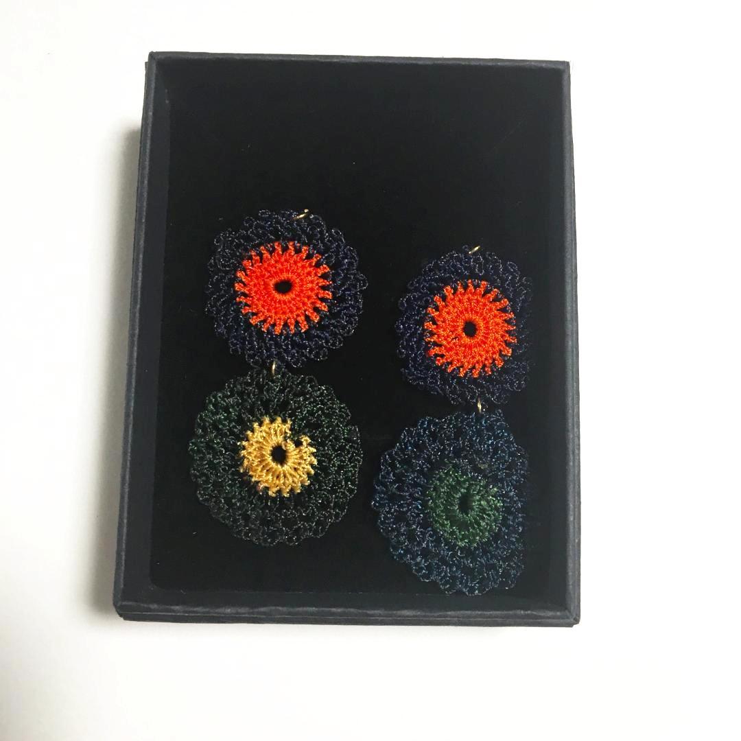 手編みトルコイヤリング・トルコピアス 画像