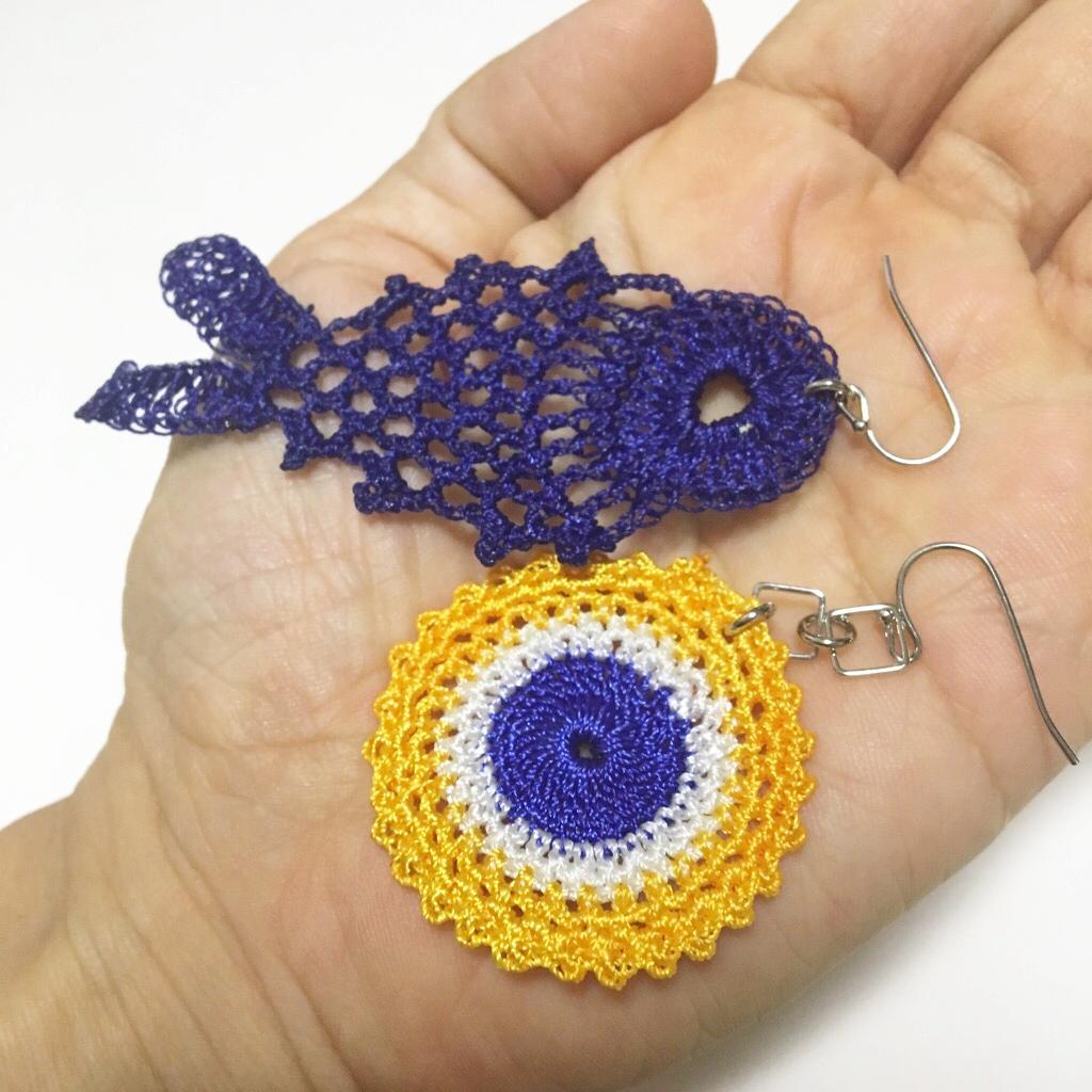 手編みレース、魚のトルコイヤリング・トルコピアス 画像