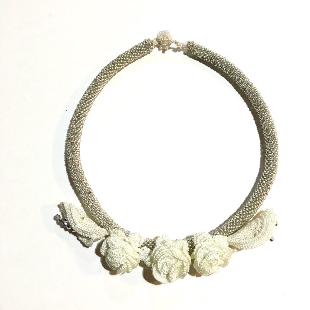 お花のオヤ付ボンジュク(ビーズ)ネックレス画像