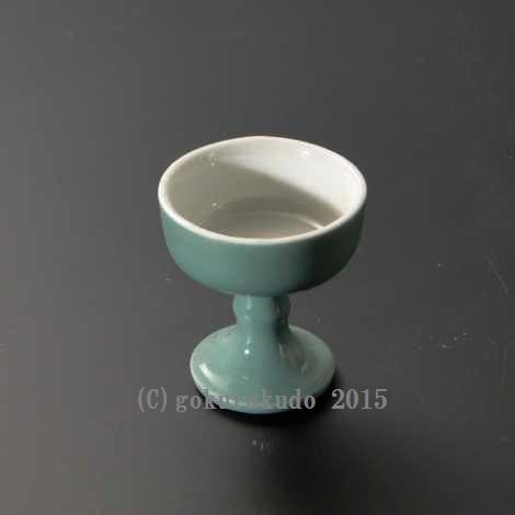 仏飯器・ブッキ(ご飯の入れ物)陶器製 青地(中)の画像