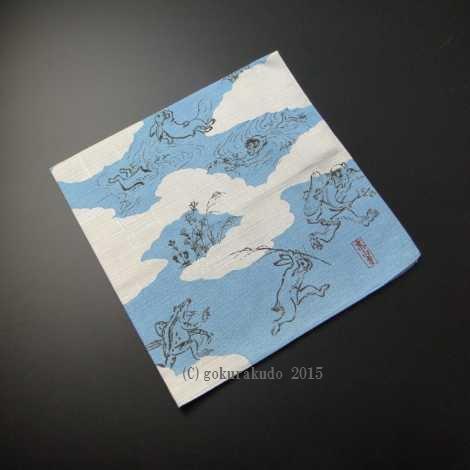 50チーフ 鳥獣人物戯画 風呂敷(ブルー)の画像