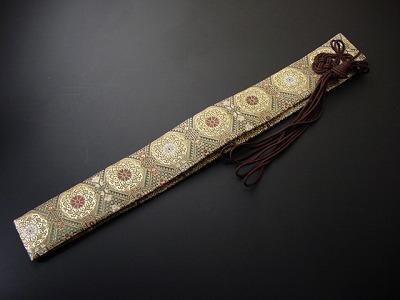 半袈裟(正絹)緑地に金茶系色 茶色紐 の画像