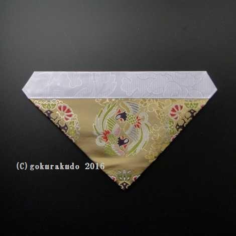 三角打敷き(金襴の布)50代 正絹 グレー地上錦-Hの画像