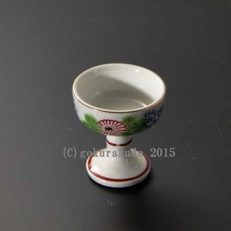 仏飯器・ブッキ(ご飯の入れ物)陶器製 唐草錦柄(中) の画像