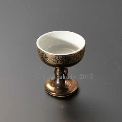 仏飯器・ブッキ(ご飯の入れ物)陶器製 金地唐草柄(中) の画像