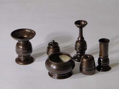 (花立や蝋燭立のセット)/一二三型 3.5寸 6具足(特注京色)の画像