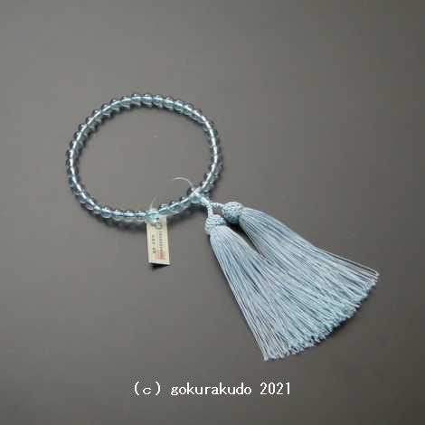 女性用略式数珠、総ブルートパーズ(主玉7mm玉)正絹頭付き房(細糸)の画像