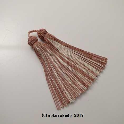 正絹頭付き房軸付き(c3 灰桜+薄いピンク)2.5匁の画像