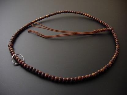 数珠 曹洞宗用 栴檀 共玉 尺 濃い茶色系紐の画像