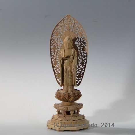 仏像 阿弥陀如来(浄土宗・時宗用) 4寸 総白檀の画像