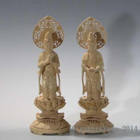 仏像・本尊/観音・勢至菩薩セット 総つげ3.5寸金泥書き付き の画像