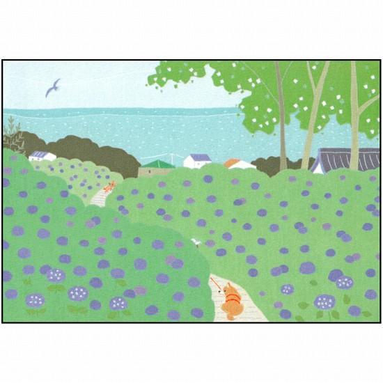 ひらいみも ポストカード(子ブタと春の緑散歩)の画像