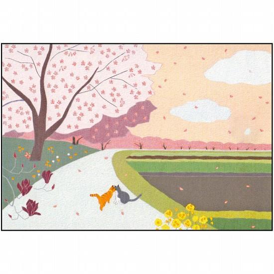 ひらいみも ポストカード(子ブタと桜と木蓮)の画像