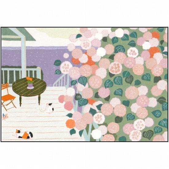 ひらいみも ポストカード(子ブタと紫陽花バルコニー)の画像