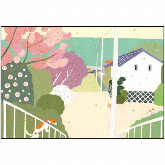 ひらいみも ポストカード(子ブタと桜と倉)の画像