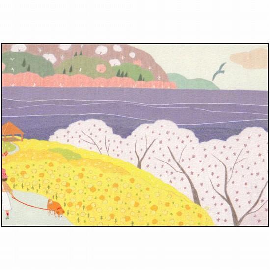 ひらいみも ポストカード(子ブタと桜と菜の花)の画像