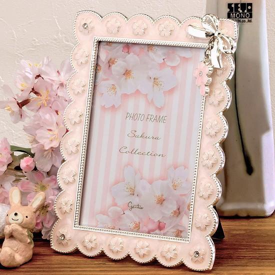 桜リボンフレームの画像