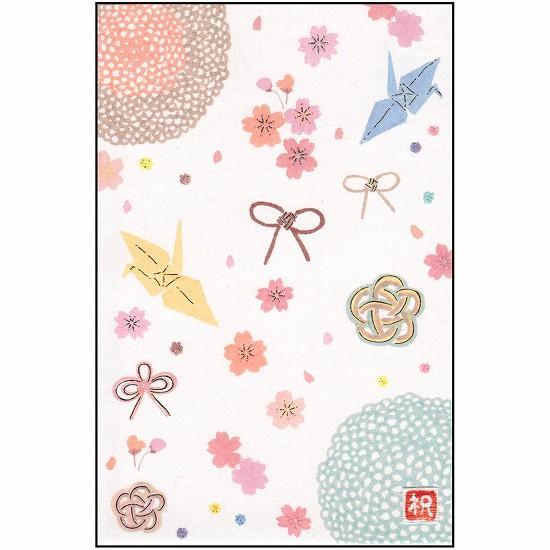 いわぶちさちこ 和風ハンドメイドポストカード(折り鶴と桜)画像