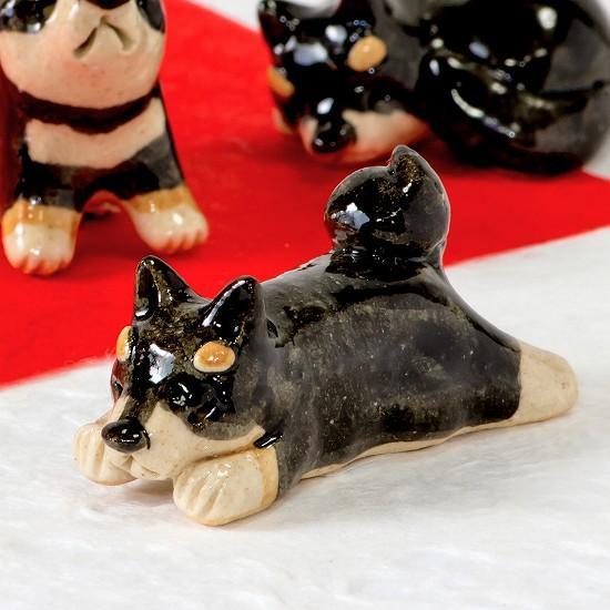 豆屋 箸置き(柴犬 黒 ひらめ寝)の画像