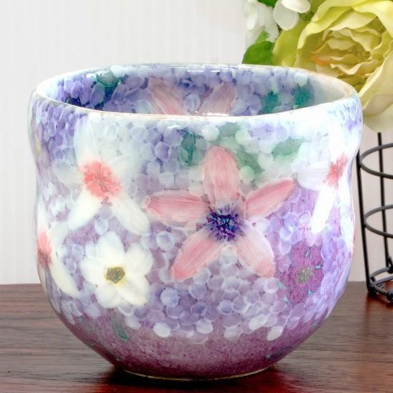 工房ゆずりは 福々碗(彩紫小花)No.54 瓢型の画像