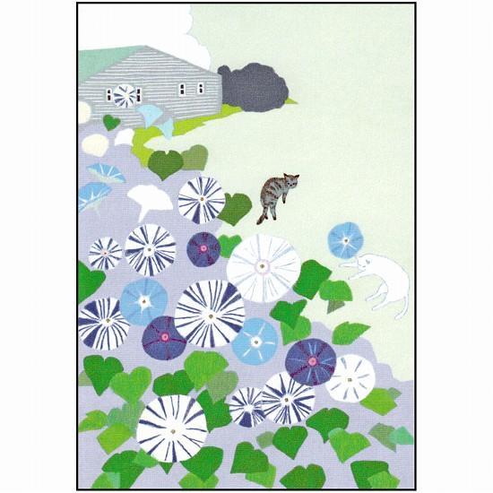ひらいみも ポストカード(朝顔:星咲き朝顔)の画像