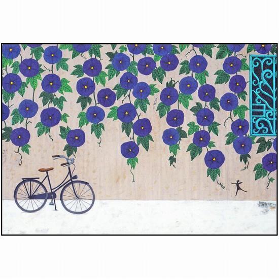 マツモトヨーコ ポストカード(朝顔と自転車)の画像