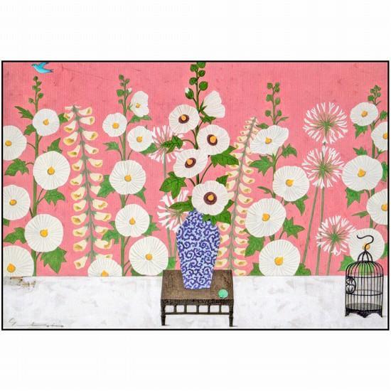 マツモトヨーコ ポストカード(白の立葵)の画像