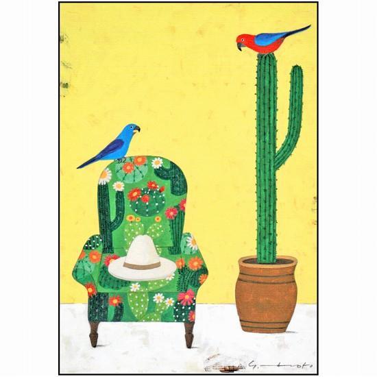 マツモトヨーコ ポストカード(サボテンとトリ)の画像