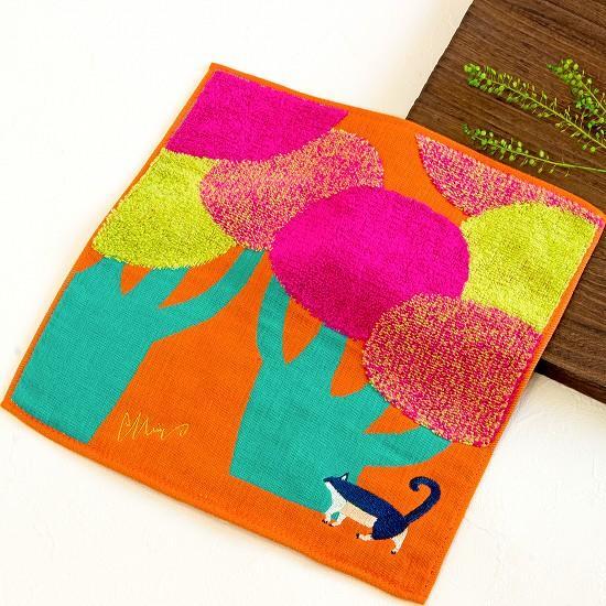 morita MiW ガーゼパイルハンカチ(ネコと大きな街路樹)の画像